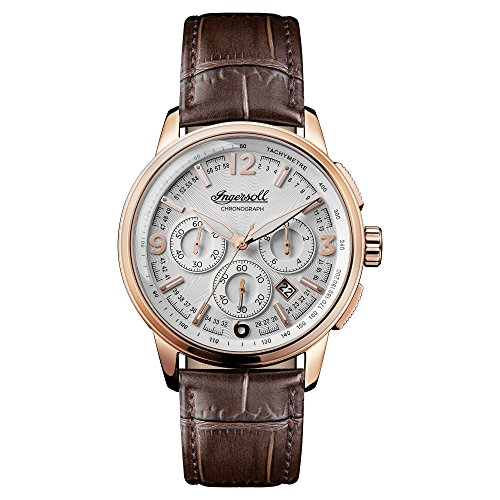 Ingersoll Men's Quartz Stainless Steel and Leather Casual Watch, Color:Brown (Model: I00101)