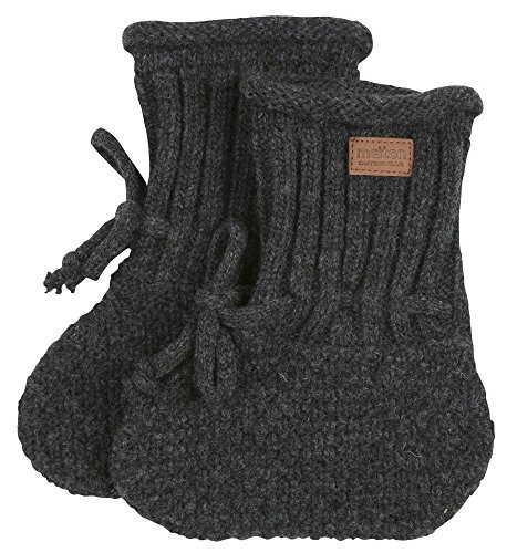 Melton Unisex Baby Lambfur Wool Booties, Dark Grey, 6-12 Months (Knitted Booties)