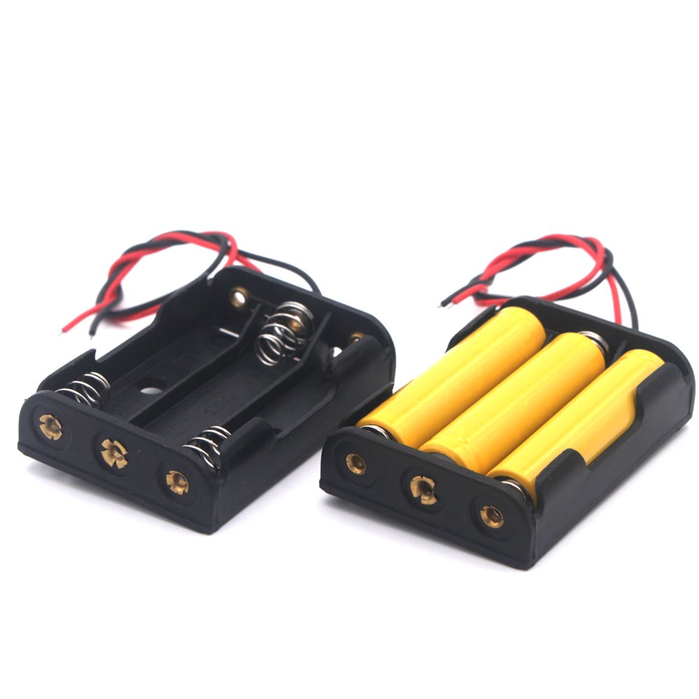 4 Pcs 3x 1.5V AAA Battery Holder Case Box With Wire Leads 3 Slots AuKvi