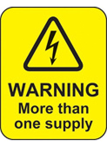 Pack of 100 40 x 50 mm Caledonia Signs 59814 Warning More Than One Supply Label