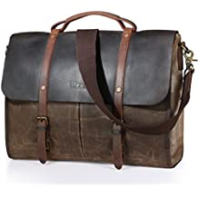 d4e37304a911 Lifewit Men s Messenger Bag Waterproof Leather Waxed Canvas Laptop Satchel  Computer Shoulder Briefcase