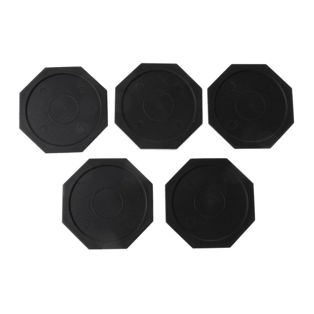 Dovewill 5 Pieces 63mm Black Plastic Air Hockey Pucks (Octagon)