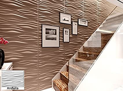 Natural Bamboo 3D Wall panel Decorative Wall Ceiling Tiles Cladding  Wallpaper- Anstella - 6 m2, Panel Dimensions 80cm X 62 5cm