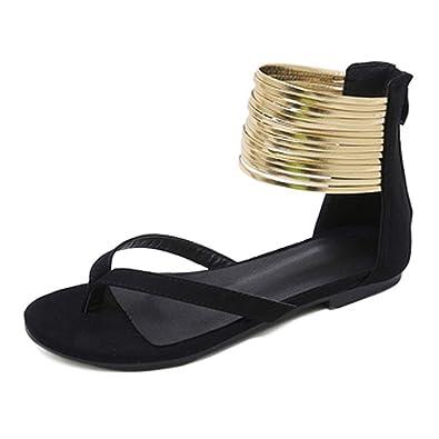 4975f9045ec64 Orangetime Womens Ankle Strap Sandals Suede Flats Summer Sandals Elegant  Dress Shoes Party Sandals Black 35