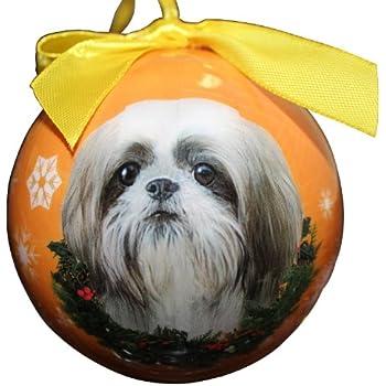 Amazon.com: Shih Tzu Christmas Ornament Shatter Proof Ball Easy To ...
