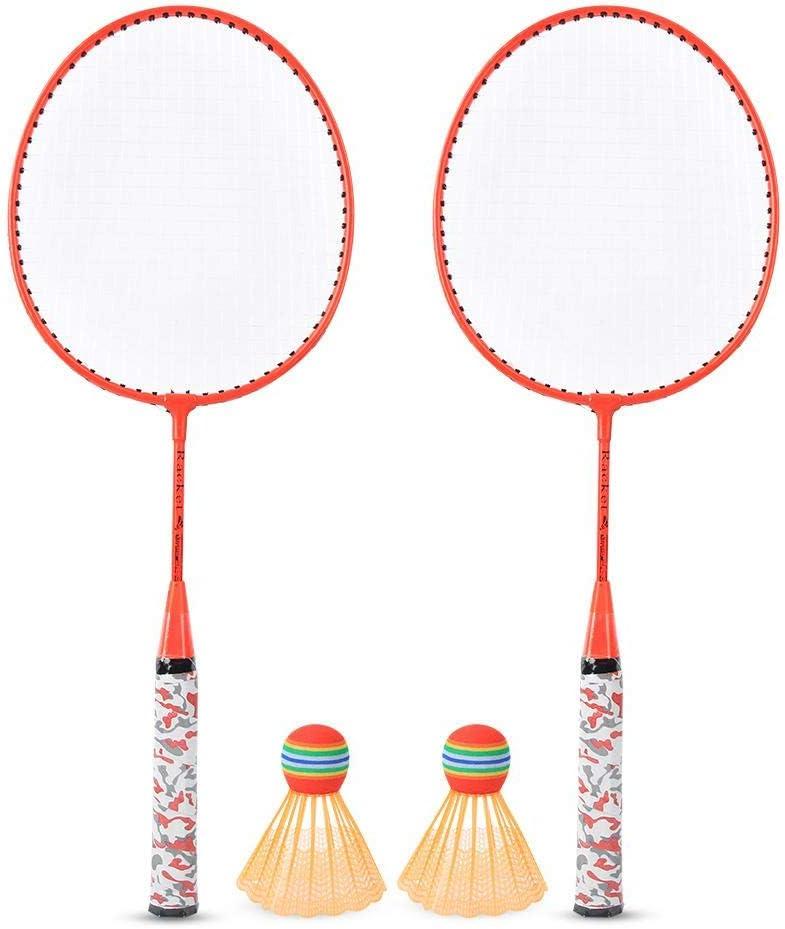 Juego de raquetas de bádminton portátil, juego de deportes de interior/exterior con 2 bolas de entrenamiento liviano para principiantes Niños Niños Niñas Regalo 20.2x53.5cm/8.0x21in(naranja)