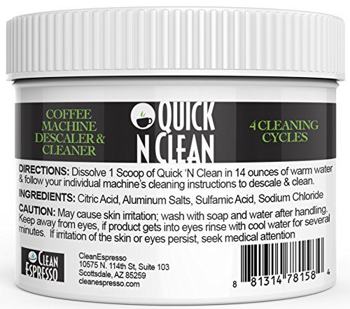 (4-Use) Keurig Coffee Machine Descaling Solution & Cleaner By Quick 'N Clean
