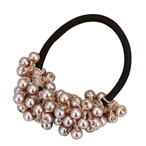 -  Orcbee  _Women Fashion Rhinestone Crystal Pearl Hair Band Rope Elastic Ponytail Holder (Brown)