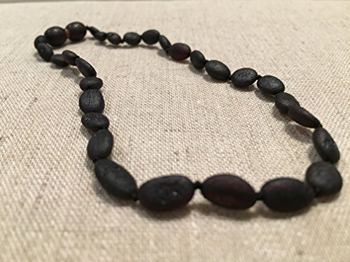 11 Inch Raw Black Cherry Bean Olive Baltic Amber Teething Necklace for Infant, Baby Drooling & Teething Pain, Growing pains, Reduce Properties -Natural Certified Baroque Round Twist-in Screw Clasp by Baltic Essentials