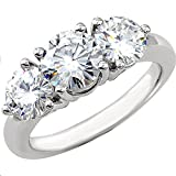 Classy! 14k White-gold Women's Three Stone 1 3/4CT TW Forever-One Moissanite Anniversary Band …