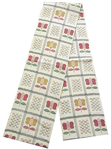 文明化錫サイトラインリサイクル 全通袋帯 紬 格子に遠州椿 正絹 全通柄