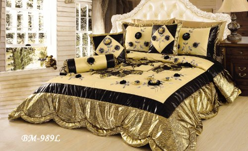 Tache 6 Piece Royal Spring Blooms Patchwork Comforter Quilt Set, King Size