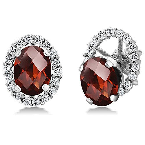 Garnet Womens Jacket - 3.32 Ct Oval Checkerboard Red Garnet 925 Silver Stud Earrings with Jackets
