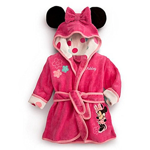 - Little Girls Bathrobe with Hood Pajamas Robe Minnie Mouse Cartoon Coats Clothes Pink 3t