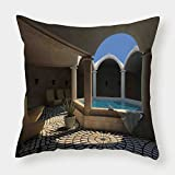 Microfiber Throw Pillow Cushion Cover,Landscape,Inside View of A Spa Hotel with Bathtub in the Circle Centre Therapy Photo Print Decorative,Grey Blue,Decorative Square Accent Pillow Case