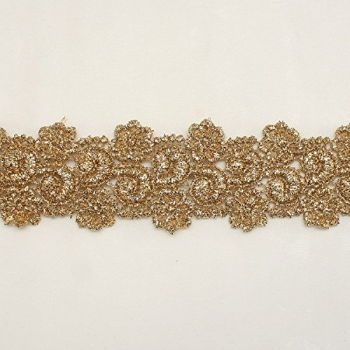 Gold Metallic Rayon Embroidery Lace Trim Flower Floral pattern applique lace - Bridal wedding Lace Trim wedding fabric Millinery accent motif scrapbooking crafts lace for baby headband hair accessories dress bridal accessories by Annielov trim #336