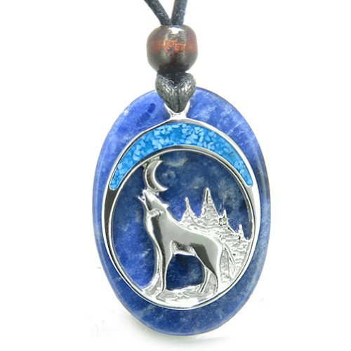 Howling Wolf Moon Amulet Good Luck Powers Sodalite Gemstone Pendant Necklace