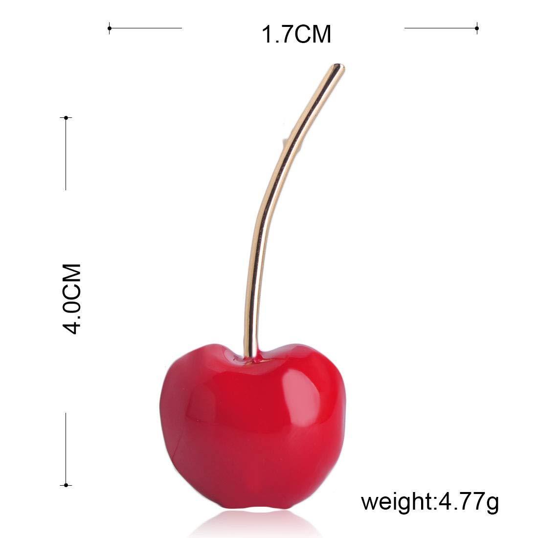 MECHOSE Lovely Red Cherry Shape Brooch Pins for Women Kid Cute Small Enamel Fruit Sweater Shirt Bag by MECHOSEN (Image #3)