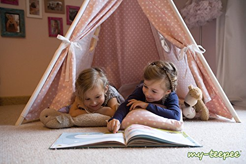my-teepee Play Tent MT01ro, Made in Germany, Natural Materials, Wooden Sticks From Aspe, Cover 100% Cotton, Oekotex 100, Height 4.9 ft. (150 cm), Lockable Window, Colour: Rose With White Points by my-teepee (Image #1)
