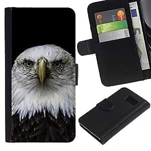 YiPhone /// Tirón de la caja Cartera de cuero con ranuras para tarjetas - Hermoso Águila Falcon Hawk - Samsung Galaxy S6