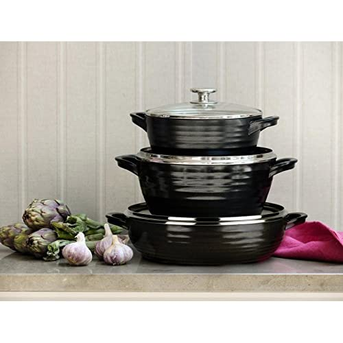 Portmeirion Sophie Conran Cast Aluminum Ceramic Coated Cookware Black Large Casserole with Glass Lid, 9.5 Inch