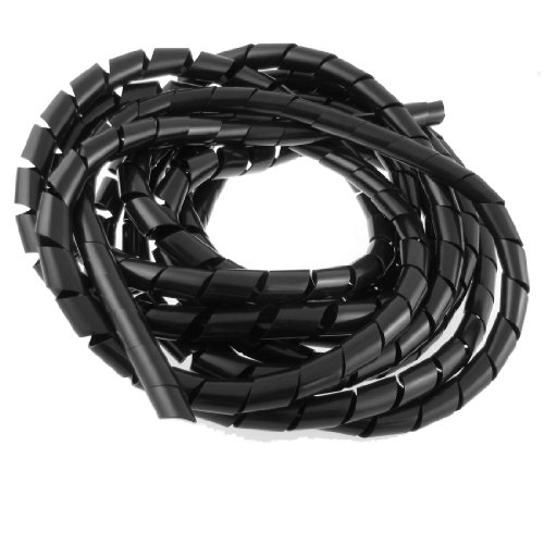 - 14mm Outside Dia 17 Ft Polyethylene Spiral Wire Wrap Desktop PC Manage Cable