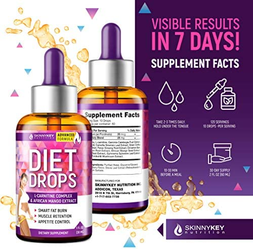 Weight Loss Drops for Women & Men - Metabolism Booster Diet Drops - Made in USA - Appetite Suppressant & Fat Burner with L-Carnitine & African Mango - Metabolism Drops for Fat Loss 3