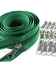 #3 Green Nylon Coil Zippers by The Yard Bulk 10 Yards with 25pcs Silver Sliders for DIY Sewing Tailor Craft Bag Leekayer(Green)