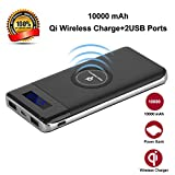 Wireless Power Bank, YGIVO 10000mAh 3 in 1 Qi Power Bank and Qi Wireless Portable Charger for iPhone x/8/8 Plus,Samsung Galaxy S6/7/8 and More (Black)
