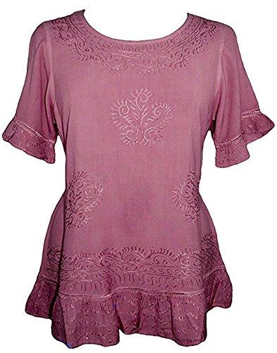 Agan Traders 142 B Medieval Peasant Bohemian Ari Blouse Top (2X, Dusty Pink)