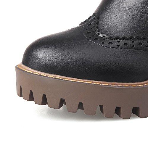 AgooLar Women's Round-Toe Pull-On PU Solid High-Heels Boots Black hjpJI9VL
