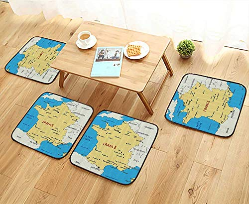 French Country Living Chair Pad - Printsonne Elastic Cushions Chairs Map of France Country French Territory Channel Mediterranean for Living Rooms W29.5 x L29.5/4PCS Set