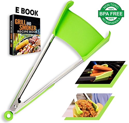 (2 in 1 Non-Stick Silicone Kitchen Spatula & Tong. Multi Purpose Food Cooking & Serving Utensil with Heavy Duty Stainless Steel Frame. Size 12 INCH Color Green)