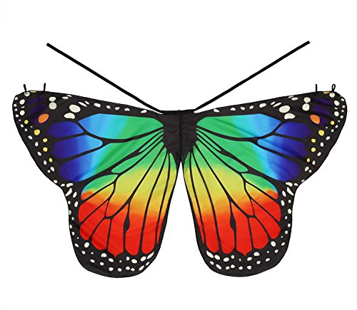 Dance Fairy Rainbow Monarch Butterfly Cape Wings Angel Wings Dress Up Costume for Kids Toddler Child ()