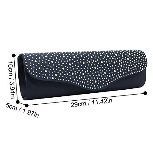 Handbag Evening Bag Bridal blue Diamante Silver Party Design Wiwsi Wedding Purse Slim Clutch Navy vcpWS8WB