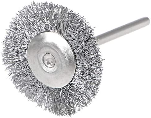 uxcell Mini Wire Cup Brush Crimped Steel 25 X 3mm with 2.35mm Shank 5 Pcs