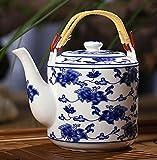 China Ceramic Teapot, Jing De Zhen Ceramic, 2L Big Teapot, Loop-handled Teapot, Eight Teacups, Under-glaze Decoration, GJP-17