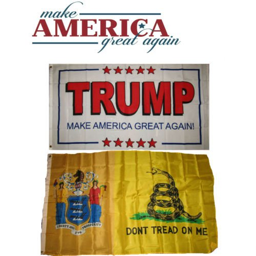 Moon 3x5 Donald Trump White #2 & New Jersey Gadsden Wholesale Flag Set 3x5 - Vivid Color and UV Fade Resistant - Prime Outside Garden Home Decor