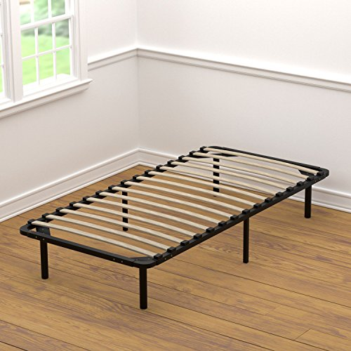 Birch Metal Bed - Handy Living Platform Bed Frame - Wooden Slat Mattress Foundation/Box Spring Replacement, Twin-XL