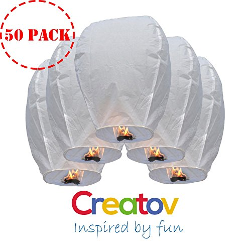Creatov Chinese Flying Sky Lanterns, White, 50 Pack
