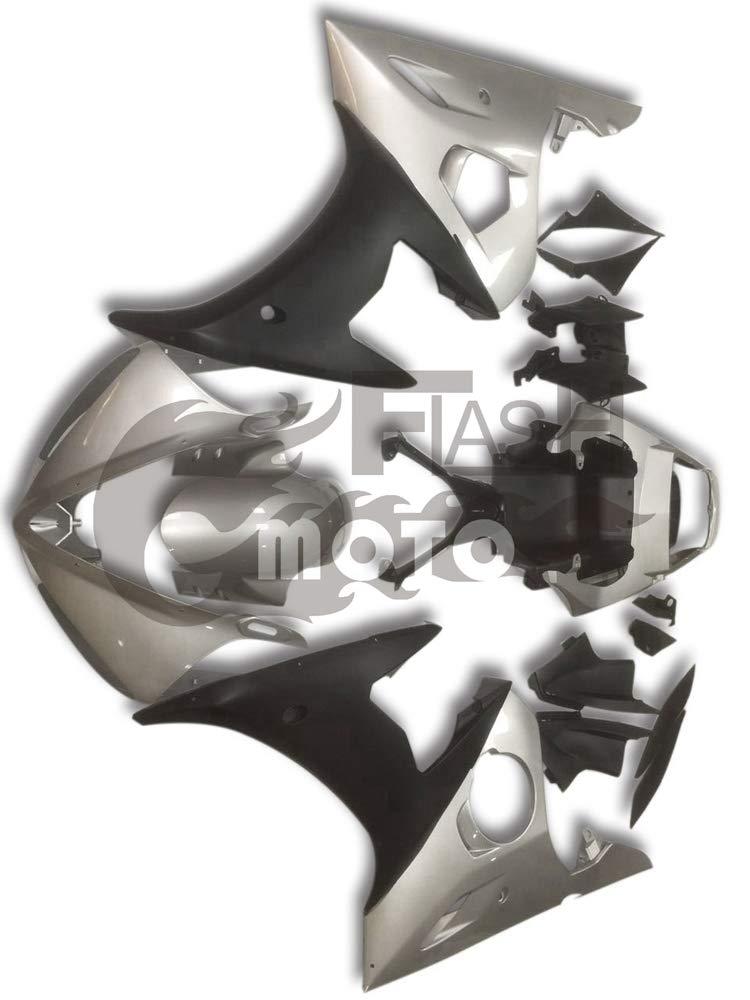 FlashMoto yamaha ヤマハ YZF-600 R6 2003 2004用フェアリング 塗装済 オートバイ用射出成型ABS樹脂ボディワークのフェアリングキットセット (シルバー,ブラック)   B07LF2CZZP