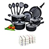 Cook N Home 15-Piece Aluminum Non-stick Soft Handle Cookware Set with 8-Pc 100% Cotton Kitchen Towel (black)