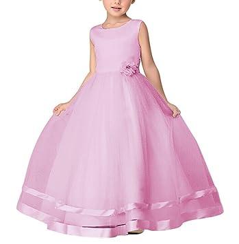 Maxi Bodas Vestido De Princesa De Niñas Vestidos Elegante De Coctel Fiesta Largos De Noche Pink