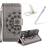 Rope Leather Case for Samsung Galaxy J320 2016,Strap Wallet Case for Samsung Galaxy J320 2016,Herzzer Bookstyle Classic Elegant Mandala Flower Pattern Stand Magnetic Smart Leather Case with Soft Inner for Samsung Galaxy J320 2016 + 1 x Free White Cellphone Kickstand + 1 x Free Silver Stylus Pen - Gray