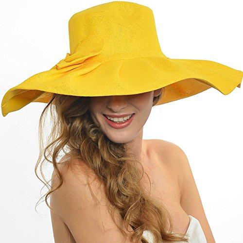 Women Summer Beach Sun Hat, BabeMallInc® Fashion Ladies Bow Trimmed Wide Large Brim Derby Dress Church Kentucky Derby Hat (Yellow)