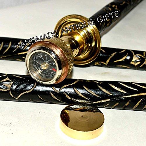 Beautiful brass black & woodenware compass design walking stick-home decor cane