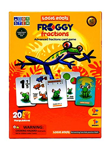 LogicRoots Froggy Fractions Math Games for Fourth Grade and up, 24 Fraction Manipulatives 72 Proper, Improper, and Mixed Fractions Card, Stem Toys for 10 Year Olds and Up (Advance Fractions Game)