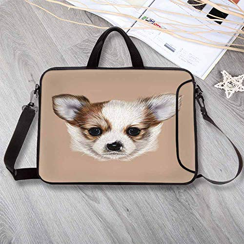 Animal Wear-Resisting Neoprene Laptop Bag,Puppy Portrait Cute Little Furry Friend Dog Pet Graphic Art Laptop Bag for Laptop Tablet PC,13.8