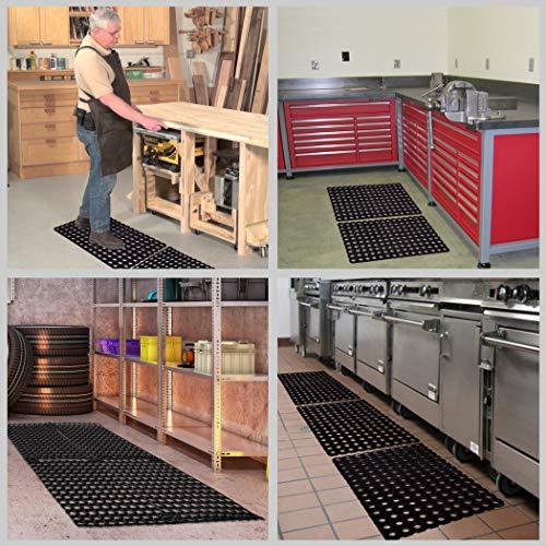 SafetyCare Interlocking Rubber Drainage Floor Mat - Anti-Fatigue - 24 x 16 inches - 2 Mats