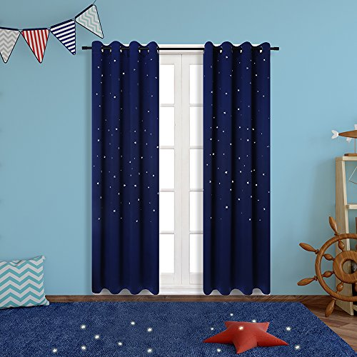 Blackout Curtains for Star Wars Themed Kids Room, Anjee 2 Panels Grommet Thermal Insulated Window Curtains with Die Cut Twinkle Star for Bedroom and Toys Room (52 x 84 Inches, Royal (New Style Warmer Element)